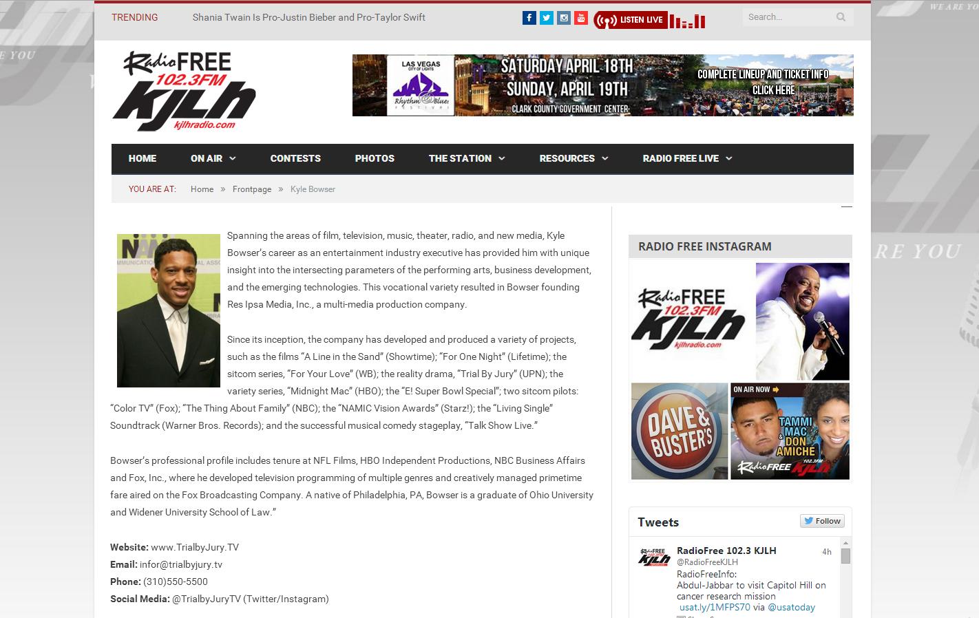 Kyle Bowser on KJLH's Front Page